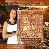 41'' St George and the Dragon 104cm Wood carving 3D icon painting orthodox art