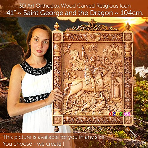 41'' St George and the Dragon 104cm Wood carving 3D icon painting orthodox art by Wood Carving Dzoz