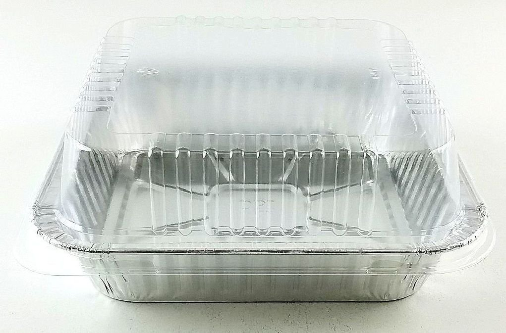 9''x9'' Square Cake Aluminum Foil Pan w/Clear Lid 50 Sets - Disposable Baking Pans by Osislon Series (Image #3)