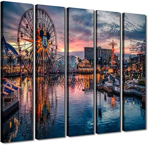 YOOOAHU 5 Pieces Large Canvas Print Wall Art Paintings Disneyland at Dusk Mickey Ferris Wheel Pictures Modern Office and Home Decor Artwork