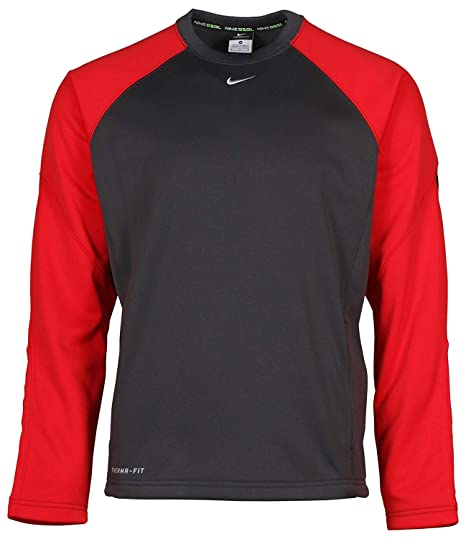 ca6518df191f Image Unavailable. Image not available for. Color  NIKE Men s Therma-Fit  Shield Baseball Shirt-Gray Red-Small
