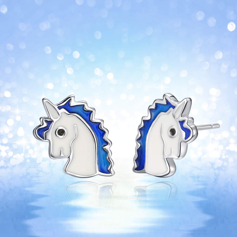 enfant et les femmes Boucle doreille licorne en Argent Sterling 925 Unicorn cheval bijoux pour enfants et lenfant Bleue bijou earrings for girls. Cadeaux de licorne pour les filles