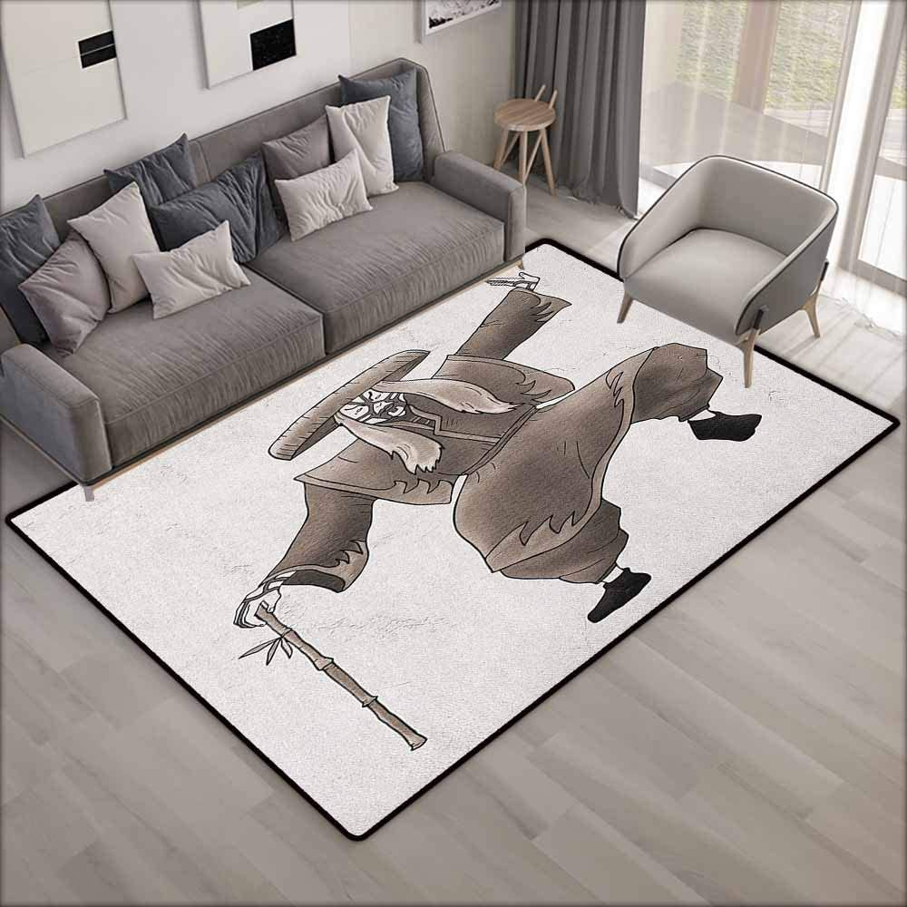 """Outdoor Patio Rug,Kabuki Mask Oriental Style Artist with Make Up and Costume Pose Dance Ancient Artwork,Anti-Slip Doormat Footpad Machine Washable,5'3""""x7'10"""", Umber White"""