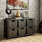 Furniture of America Copern Industrial Gun Metal Storage Shelf with 6 Removable Bins