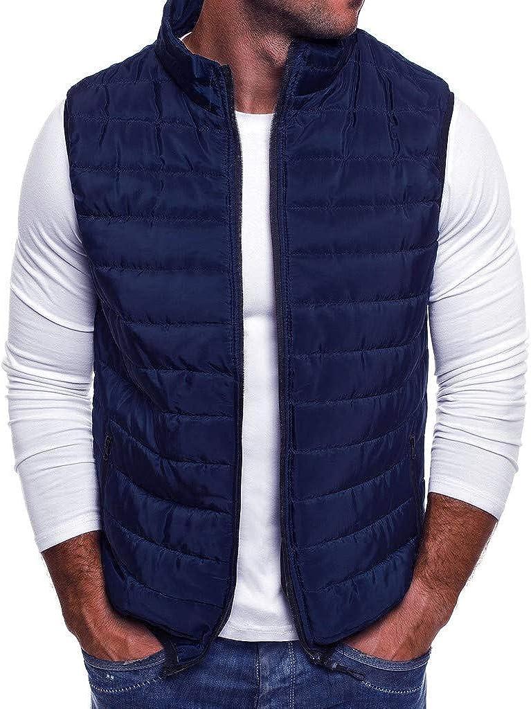 Men's Winter Vest Jackets,Males Zipper Pockets Coat Outwear Sleeveless Waistcoat Top