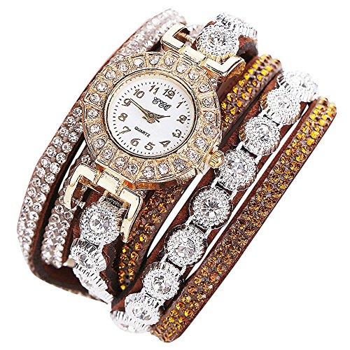 Orcbee  _CCQ Women Fashion Casual Analog Quartz Women Rhinestone Watch Bracelet Watch Gift (Brown)