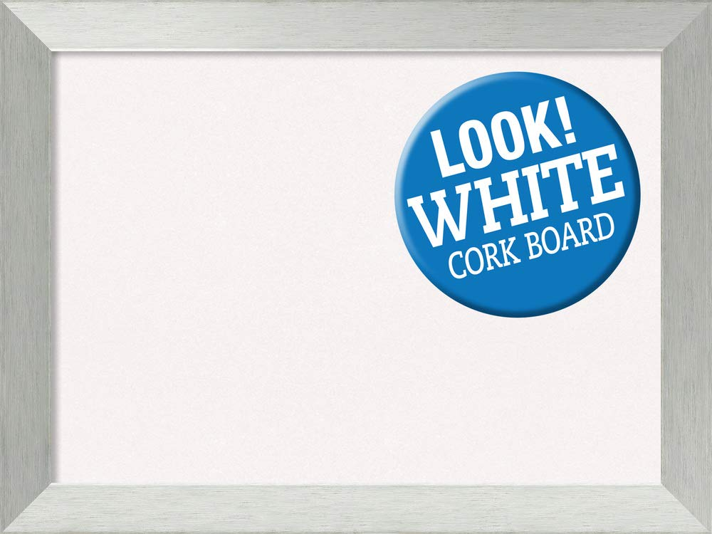 Amanti Art Framed White Cork Board Bulletin Board | White Cork Boards Brushed Sterling Silver Frame | Framed Bulletin Boards | 32.00 x 24.00 by Amanti Art