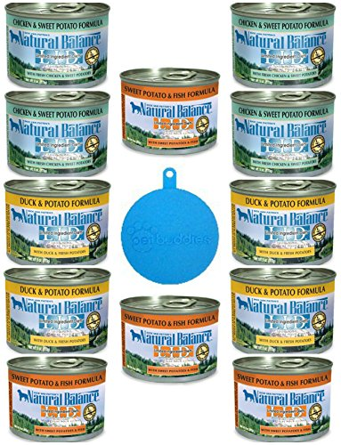 Cheap Natural Balance LID Grain Free Dog Food in 3 Flavors – Chicken & Sweet Potato, Duck & Potato, and Sweet Potato & Fish – 12 Cans Total (6 Oz Each) Plus Cat/Dog Food Silicone Can Cover – 13 Total Items