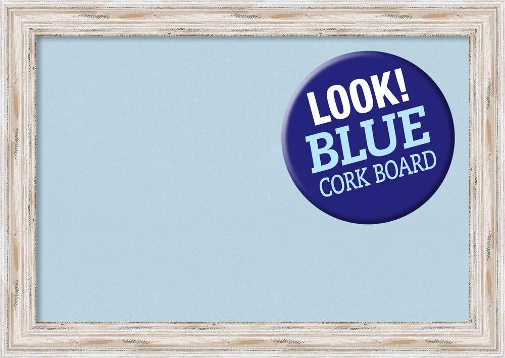 Framed Blue Cork Board Bulletin Board   Blue Cork Boards Alexandria White Wash Frame   Framed Bulletin Boards   41.12 x 29.12'' by Amanti Art
