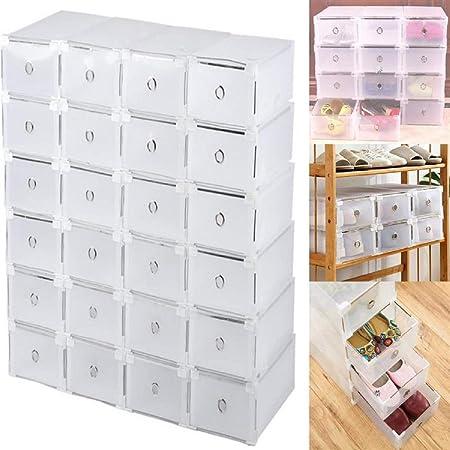 12/24 cajas para zapatos, apilables, transparentes, de plástico resistente para zapatos de hombre o mujer, 31 x 20 x 11 cm: Amazon.es: Hogar