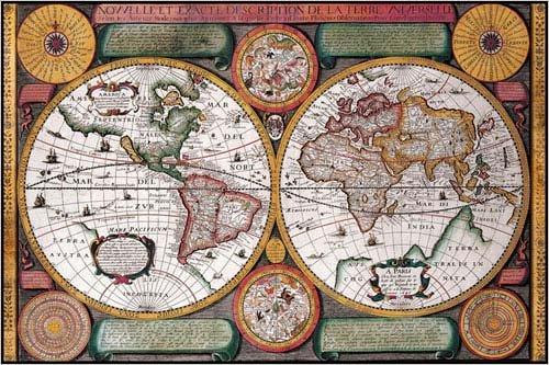A New And Exact Description Of The World Universal Map  Nouvelle Et Exacte Description De La Terre Universelle  By Petro Plancio 24 X 36 Inches  Wood Plaque  Ready To Hang Print Poster
