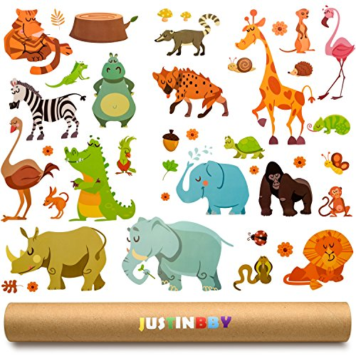Baby Decals for Nursery - Wall Stickers Nursery Decals for Kids - Walls Decor - Premium Gift Tube Included by Justinbby (Crane Hippo)