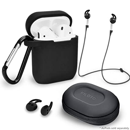 the best attitude f3966 a0e7e Airpods Accessories Set, Filoto Airpods Waterproof Silicone Case Cover with  Keychain/Strap/Earhooks/Accessories Storage Travel Box for Apple Airpods ...