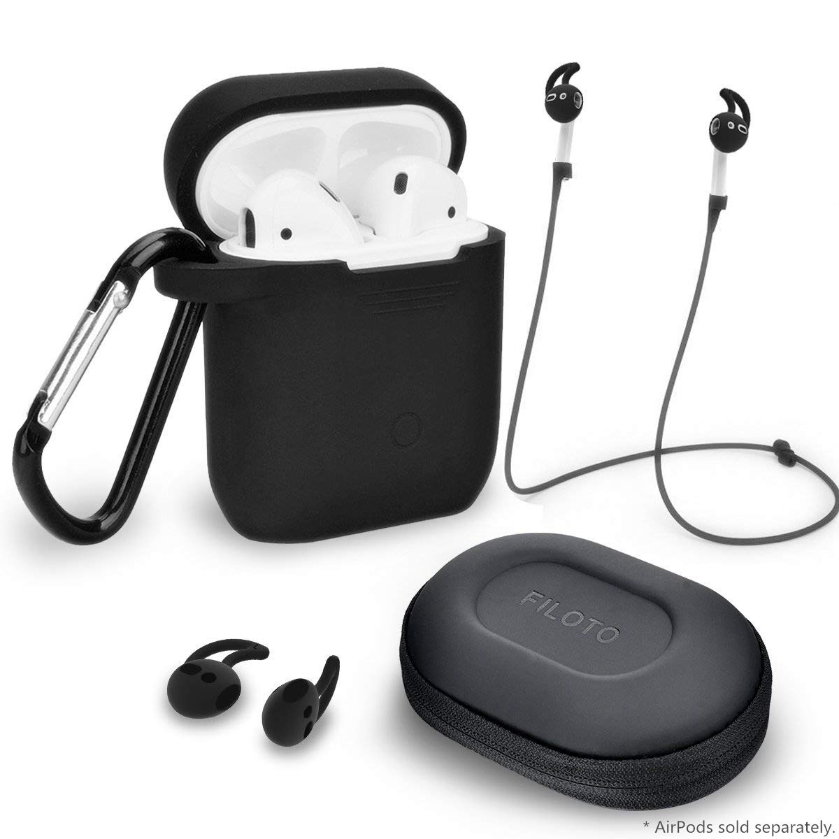 Airpods Accessories Set, Filoto Airpods Silicone Case Cover with Keychain/Strap/Earhooks/Waterproof Accessories Storage Travel Box for Apple Airpod (Black)