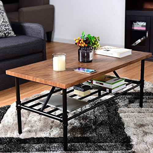 "Giantex 2-Tier Rustic Coffee Table Metal Frame Modern Living Room Furniture Vintage Wood Look Industrial Style TV Sofa Side Table Accent Cocktail Table w/Storage Shelf (40""(L) x 20""(W) x 18""(H)) by Giantex (Image #1)"
