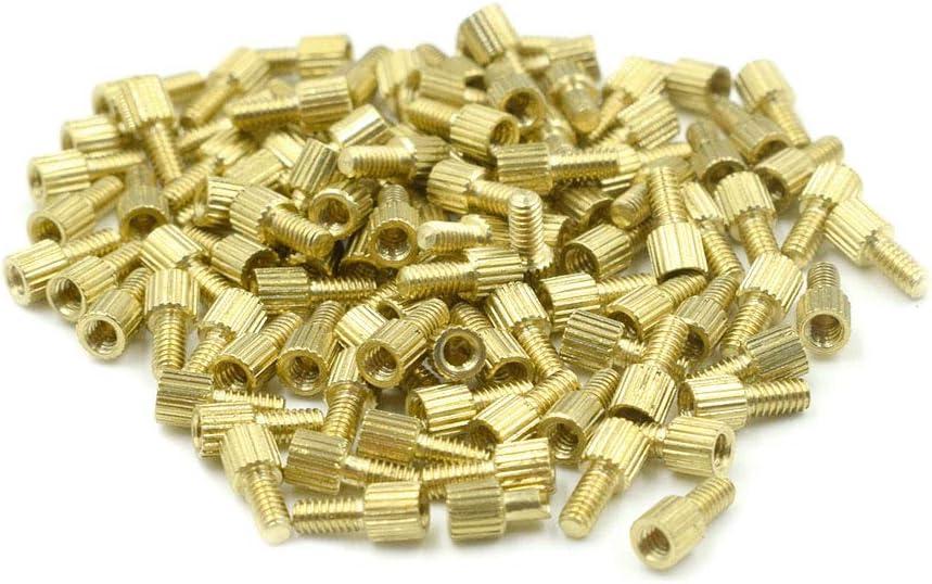 Hxchen M2 x 3mm 100 Pcs 3mm Male to Female Thread Brass Hexagon Hex Standoff Spacer Pillars