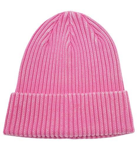 (Home Prefer Retro Winter Beanie Skull Cap Warm Knit Cotton Hat Cuff Beanie for Girls and Women Hot Pink)