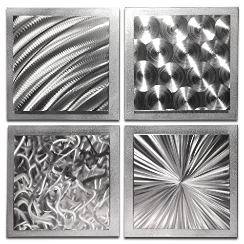 Abstract Metal Art 'Silver Seasons' by Nate Halley - Original Modern Wall Decor 3D Accent Sculpture on Natural Aluminum by Metal Art Studio