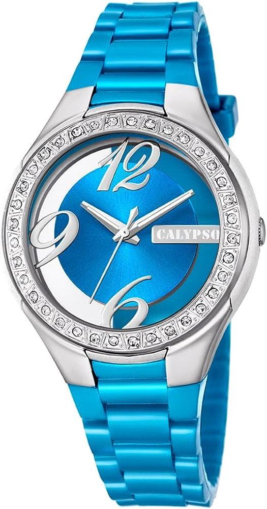 Calypso K5679/2 - Reloj analógico de Pulsera para Mujer, de plástico, Color Azul Claro