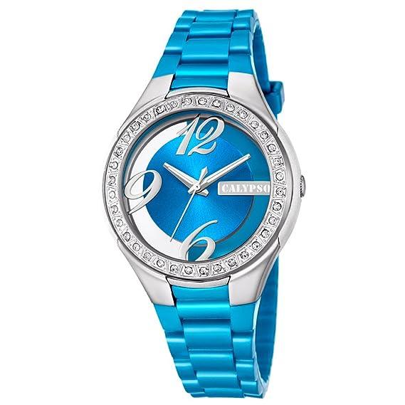 Calypso mujer-reloj analógico Fashion PU-Pulsera Esfera Azul claro cuarzo- reloj UK5679