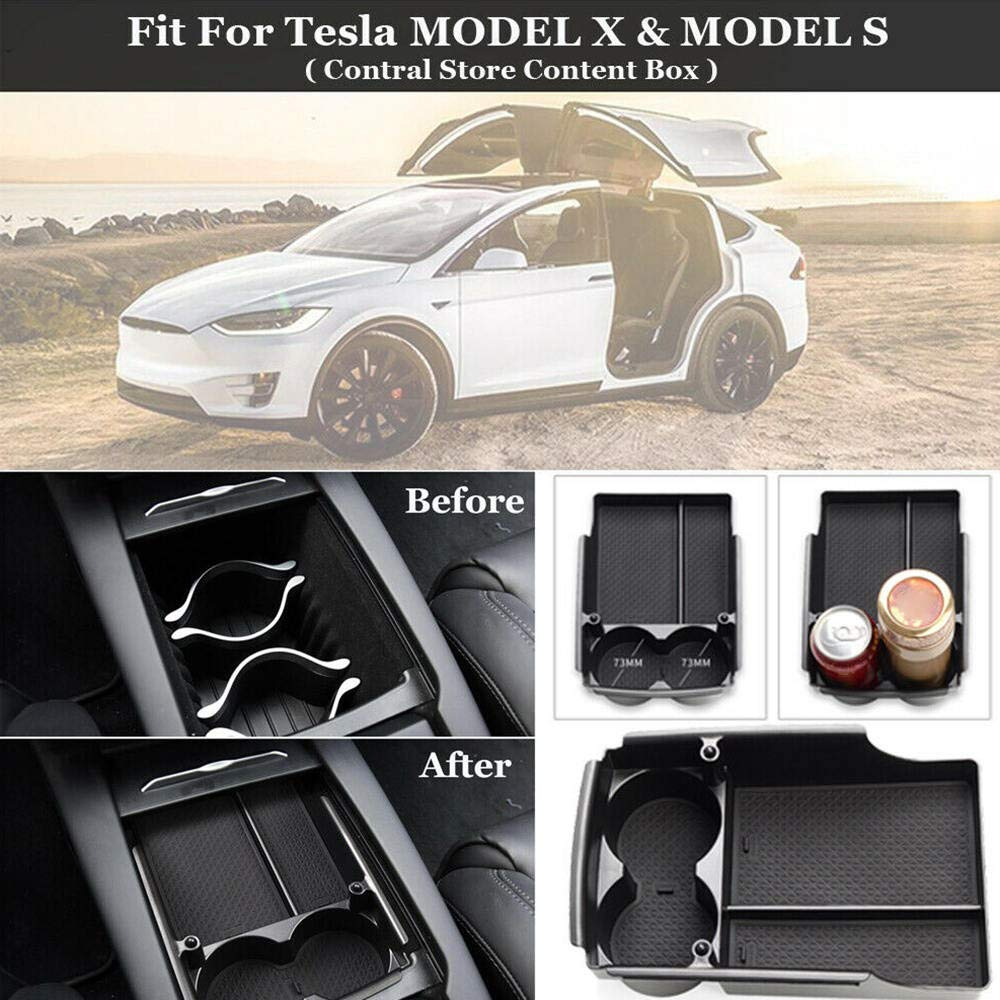 Vipithy Auto Car Center Console Tray Armrest Box Storage Tidying For Tesla MODEL X /& S