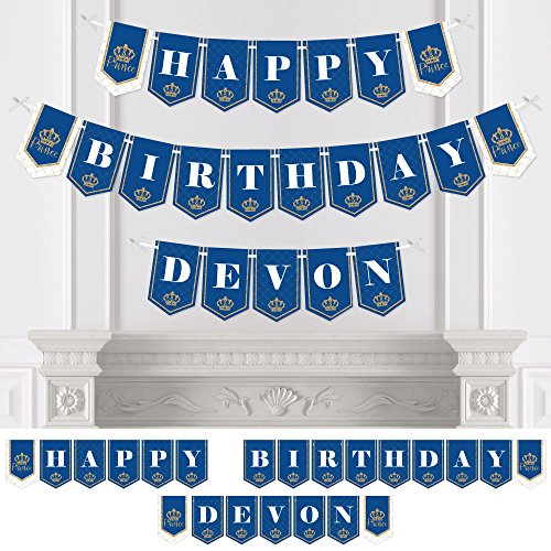 Big Dot of Happiness Personalized Royal Prince Charming - Custom Birthday Party Bunting Banner & Decorations - Happy Birthday Custom Name Banner