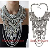 Lanue Womens Ethnic Tribal Boho Beads Coin Tassels Chain Necklaces Long Belly Dance Bohemian Jewelry