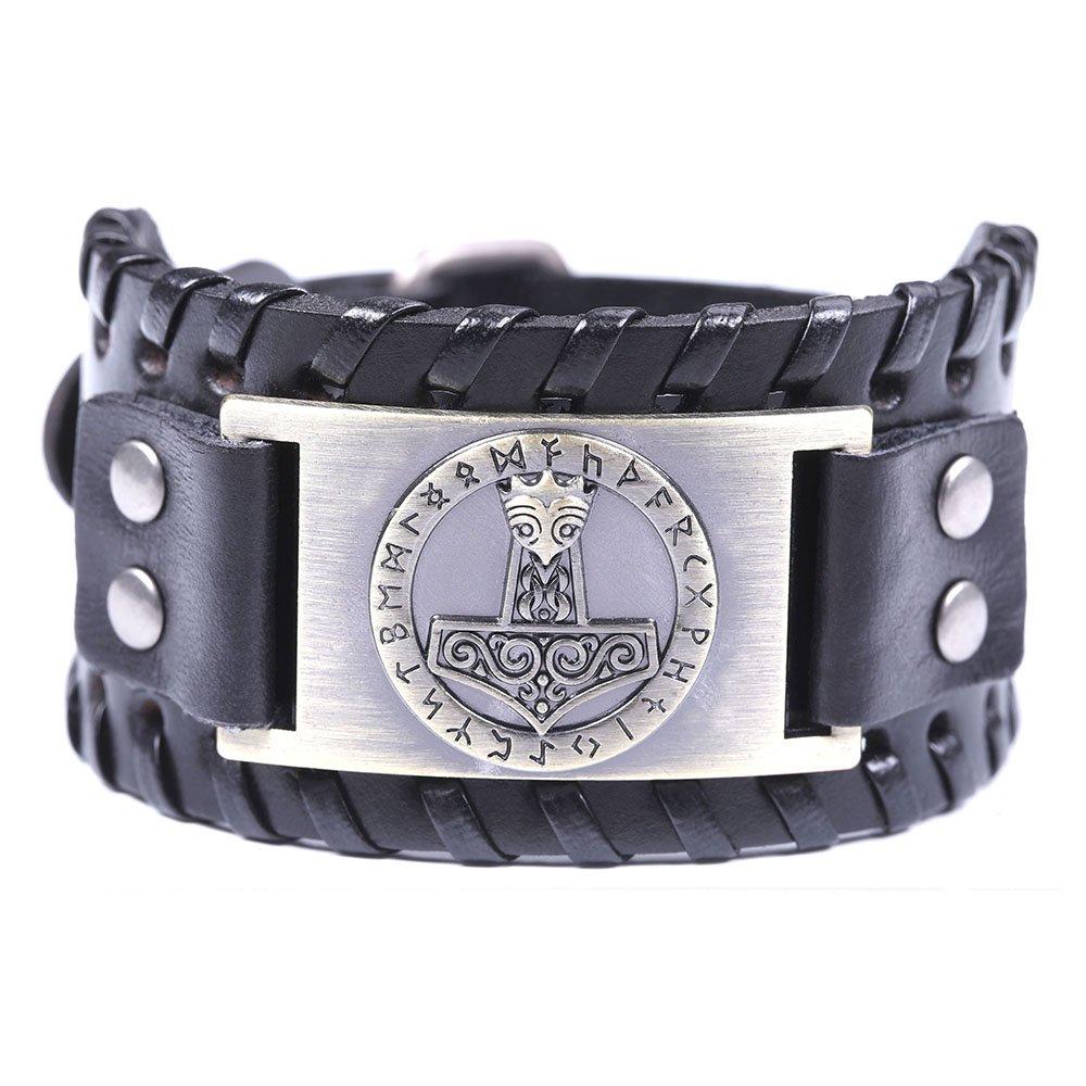 VASSAGO Vintage Norse Myth Thor's Hammer Viking Runes Celtic Knot Talisman Belt Buckle Bracelet Antique Bronze) YiYou