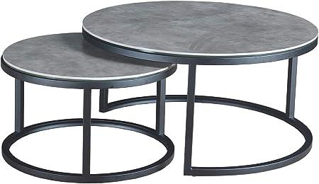 Meubletmoi Table Basse Ronde Gigogne En Ceramique Et Pietement