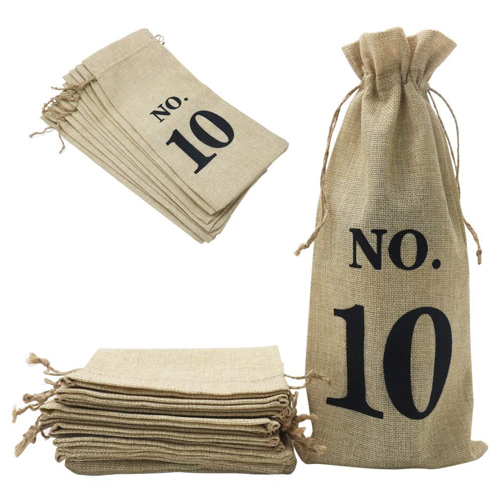 14 x 6 1//4 pulgadas numerado, marr/ón Shintop 10 bolsas de yute para vino bolsas de regalo para botella de vino de arpillera con cord/ón para degustaci/ón de vino ciego