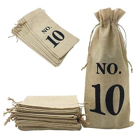 Shintop 10 bolsas de yute para vino, 14 x 6 1/4 pulgadas ...