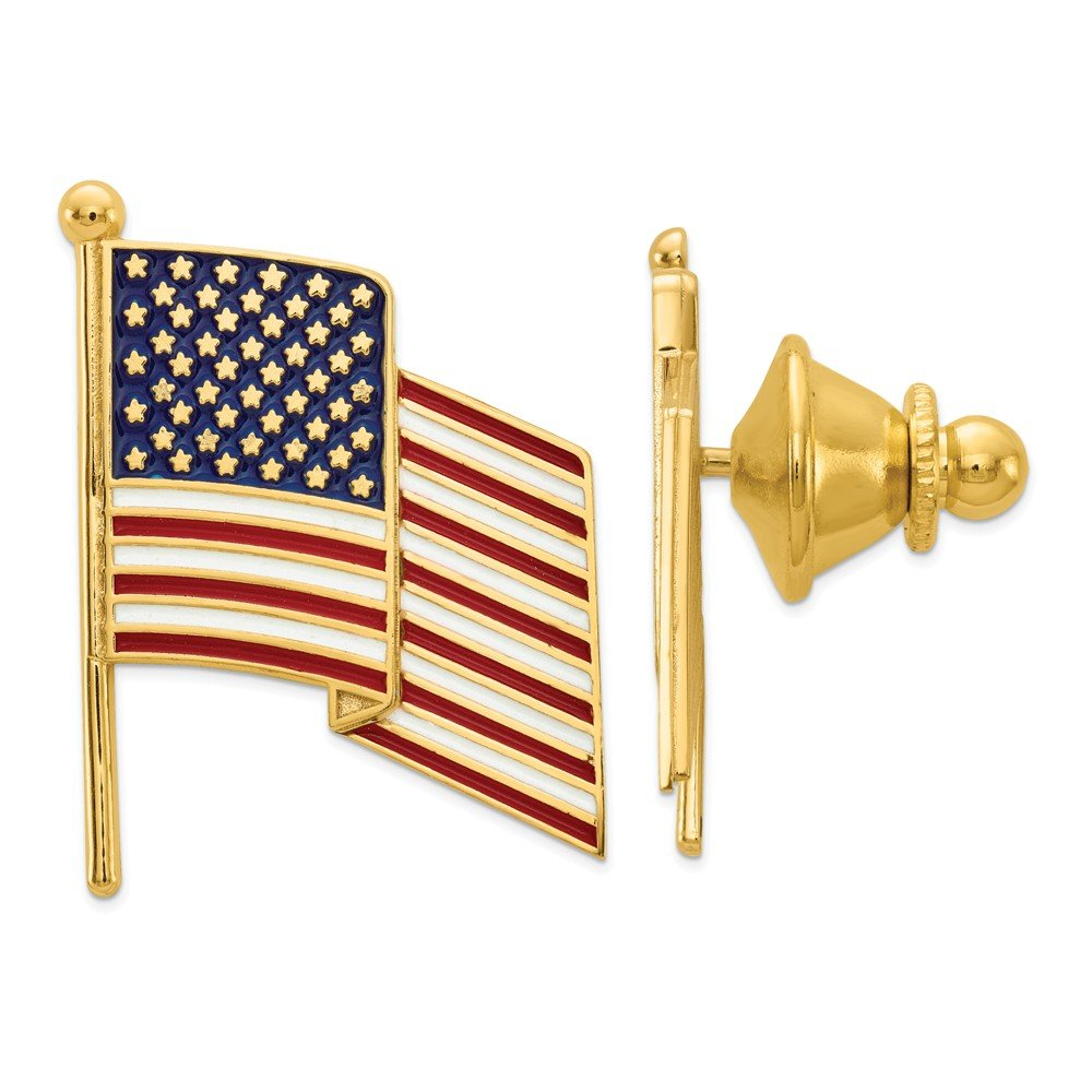 14K Yellow Gold Enameled Flag Tie Tac Unisex Solid 20 mm 27 mm Pins Accessory