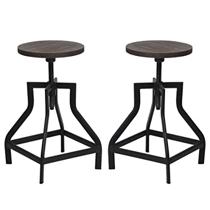 402b6c9c0f95 Amazon.com  VH FURNITURE Counter Height Swivel Barstools Round Wood ...