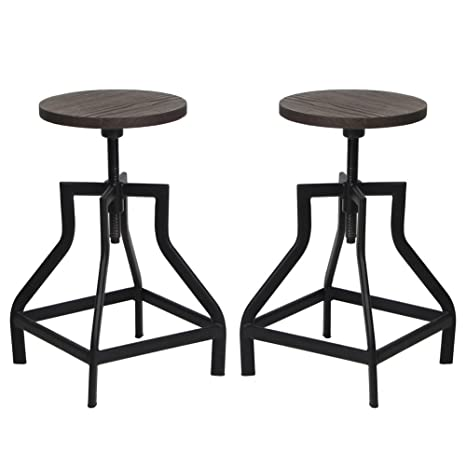 Pleasing Vh Furniture Counter Height Swivel Barstools Round Wood Bistro Rustic Metal Dining Chair Adjustable Industrial Stools For Outdoor And Indoor Pabps2019 Chair Design Images Pabps2019Com
