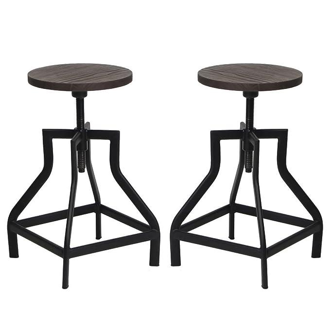 Amazon Com Vh Furniture Counter Height Swivel Barstools Round Wood