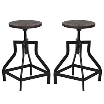 viva home industrial swivel metal frame barstool with adjustable wood seat set of 2
