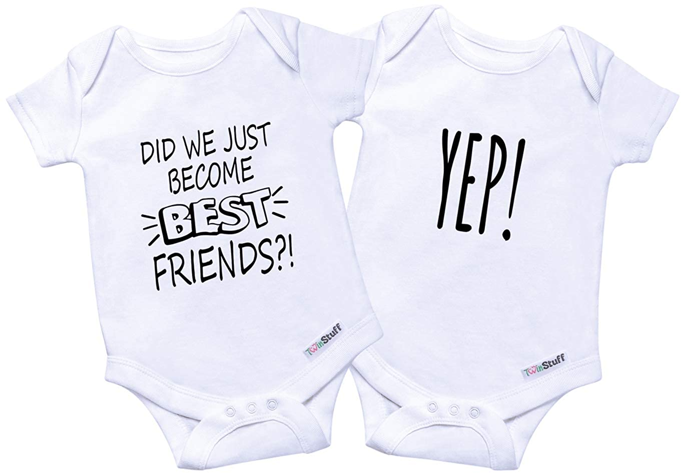 8ecf25500f45e Twin Onesies Outfits Baby Girls & Boys, Perfect Newborn Twins 2 Pack