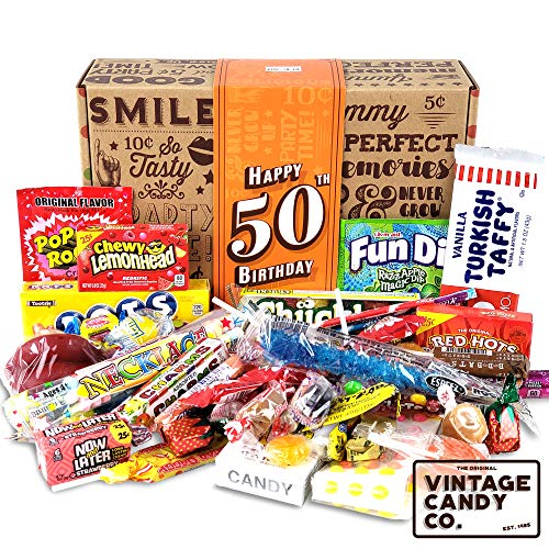 VINTAGE CANDY CO. 50TH BIRTHDAY RETRO CANDY GIFT BOX - 1969 Decade Nostalgic Childhood Candies - Fun Gag Gift Basket For Milestone FIFTIETH Birthday - PERFECT For Man Or Woman -
