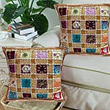 Anya Hand Embroidery Patchwork Indian Sari Cushion Cover Set of 2 & 5-16X16 (Beige)