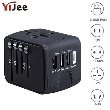 YiJee - Cargador de Viaje Internacional Todo en uno con 3,4 A 3 USB + 1 ...