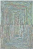 Cheap Safavieh Nantucket Collection NAN603A Handmade Abstract Teal Cotton Area Rug (5′ x 8′)