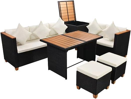 vidaXL Juego de Sofás de Jardín 6 Piezas Muebles de Exterior Mesa y Sillas Mobiliario de Patio Exterior Terraza y Poli Ratán Sintético Negro y WPC: Amazon.es: Hogar