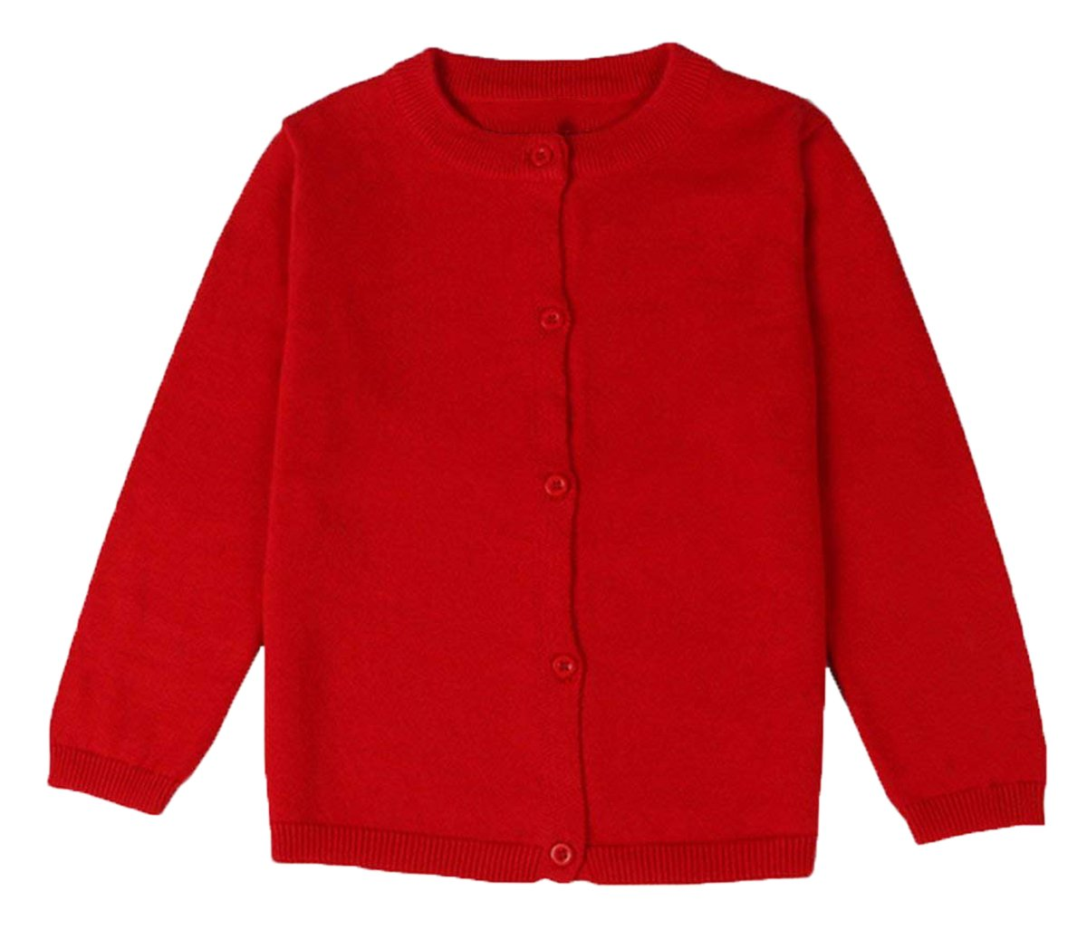lymanchi Little Girls' Long Sleeve Cardigan Button Crewneck Knit Bowknot Sweater 101 Red 5