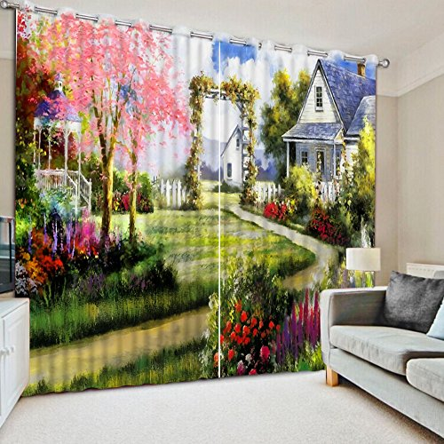 Sproud 3D Printing Curtains Lifelike Room Decorations Blackout Cortians Full Light Shading Bedroom Curtains 260Dropx200Wide(Cm) 2 pieces by Sproud