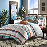 3 Piece Orange Blue Paint Stroke Duvet Cover Queen Set, Artistic Bedding White Siesta Southwest Tribal Stripes Art Themed Watercolor Design Abtract Teal, Reversible Cotton