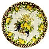 MAJOLICA TOSCANA: Wall Plate with Lemons F. Bordeuax and Fruit Center (28D)