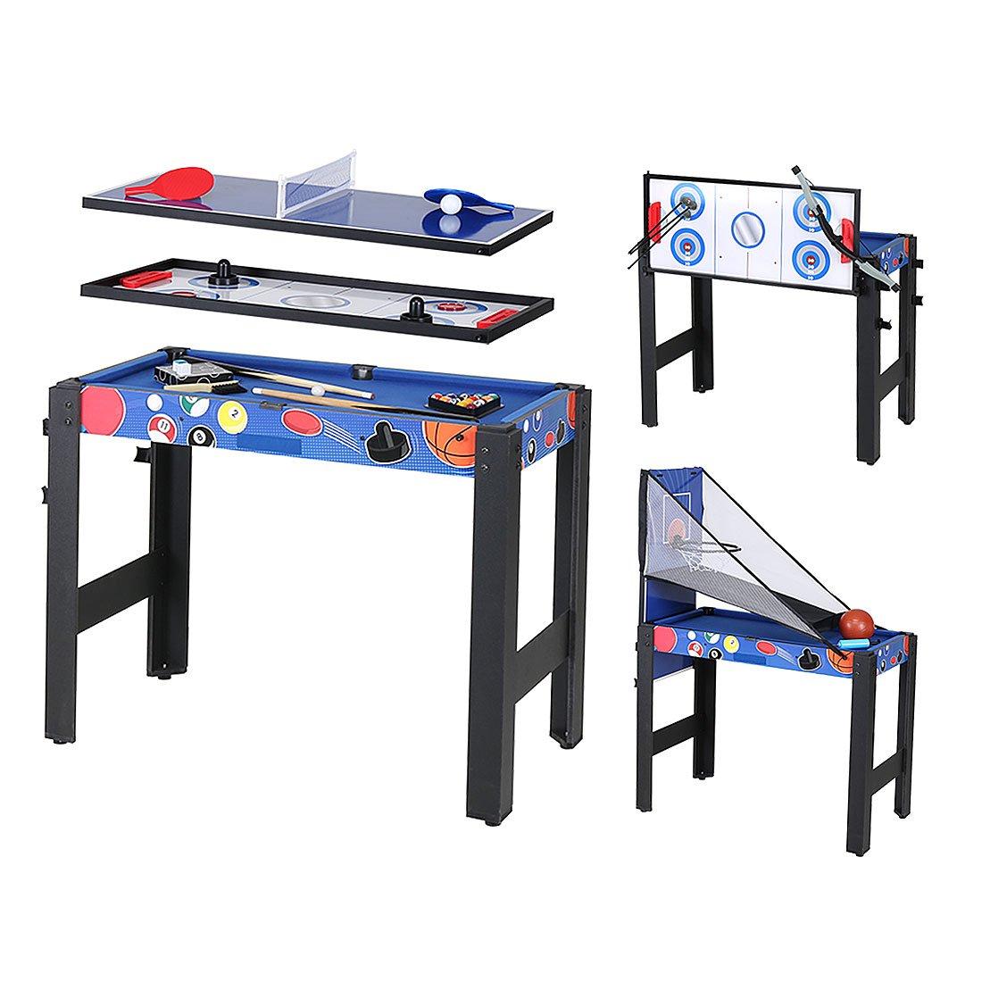 5 in 1 Folding Multi Game Table - Pool Table/Air Hockey/Basketball /Table Tennis/Bow & Arrow AHHC