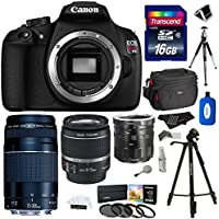 Canon EOS Rebel T5 Digital SLR Camera Body Bundle with EF 75-300mm f/4-5.6 III Zoom Lens and Accessories (12 Items) Overview Review Image