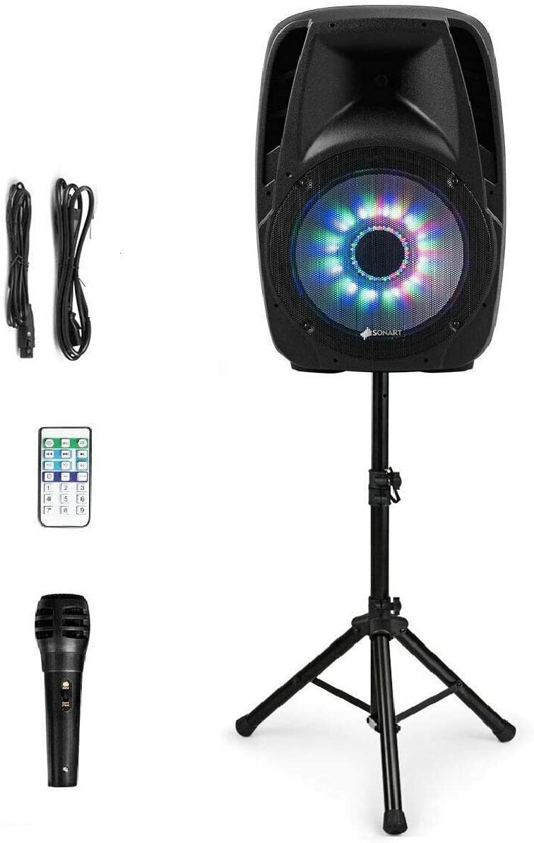 """Sonart 15"""" 1500W Powered Speakers, 2-Way Full Range Portable PA Speaker System Combo Set With Stands/Illuminating Light/Microphone/EQ/USB/Bluetooth"""