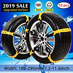 🚗SUV Car Snow Chains For Trucks Cars Snow Tire Chains For SUV Anti Slip Tire Chain Adjustable Snow Tire Cable Mergency Car Chains 185-295mm/7.2-11.6''🚗🚗PREMIUM MATERIAL:🚗✅These SUV Snow Chains made of high quality rubber and Wear-resistant no...